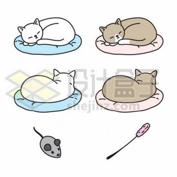 趴在垫子上睡觉的猫咪逗猫棒宠物玩具卡通插画803945png矢量图片素材