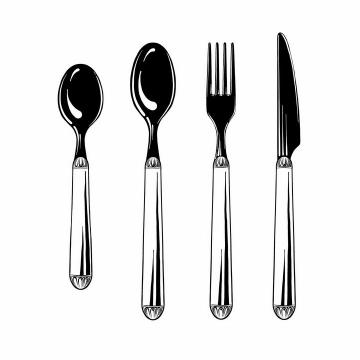 黑白色风格勺子汤勺叉子和餐刀png图片免抠素材