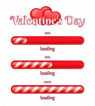 红色糖果条纹效果加载进度条loading画面设计png图片免抠eps矢量素材