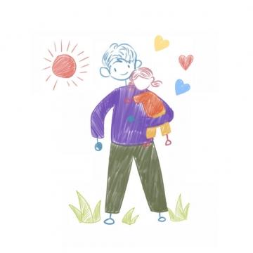 卡通抱着女儿的爸爸父亲节儿童手绘插画209984png图片素材