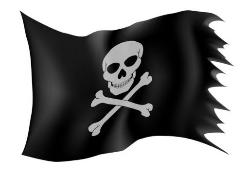 印有骷髅头的海盗旗黑色旗帜免抠矢量图片素材