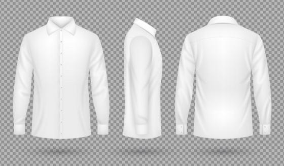 白色的衬衫衣服服装三视图图片免抠素材