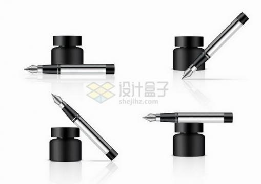 4款钢笔和墨水瓶png图片免抠矢量素材