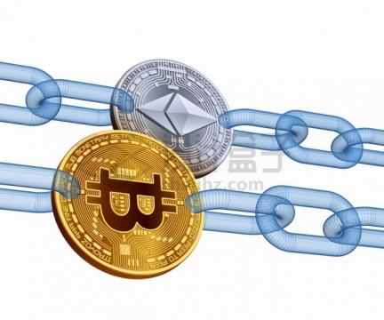 蓝色铁链连接着的比特币加密虚拟货币金币png图片素材