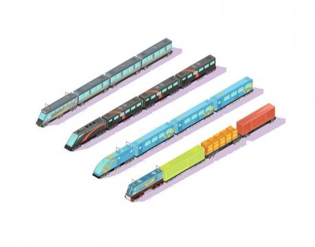2.5D效果的四款火车图片免抠素材