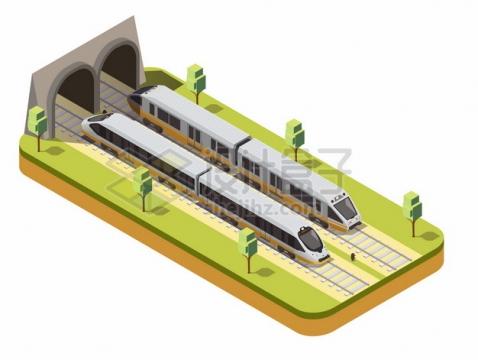2.5D风格进出隧道的高铁或地铁列车874357png图片素材