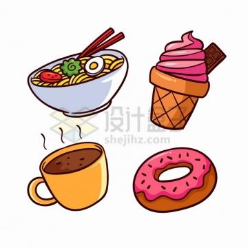 面条冰淇淋咖啡甜甜圈等美味美食卡通插画png图片素材