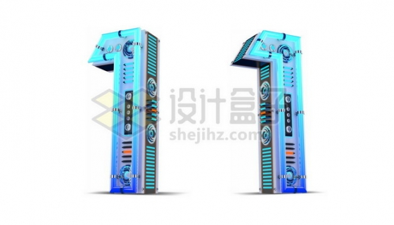 C4D风格蓝色机械3D立体数字一1艺术字体110777psd/png图片素材