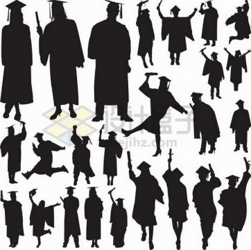 各种戴博士帽的大学毕业生剪影548334png矢量图片素材