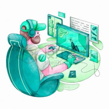 卡通男人正在玩电脑游戏上瘾水彩插画png图片素材