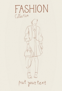 简约线条风格时尚提着单肩包的职场女性时装设计草图图片免抠矢量素材