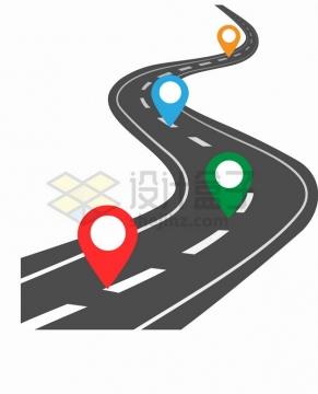 通向远方的马路和彩色定位标志png图片素材127954