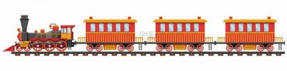 红色卡通蒸汽火车头拉着的小火车png图片素材