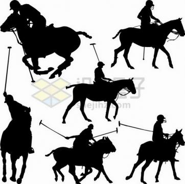 6款马术表演马球比赛剪影356096png矢量图片素材