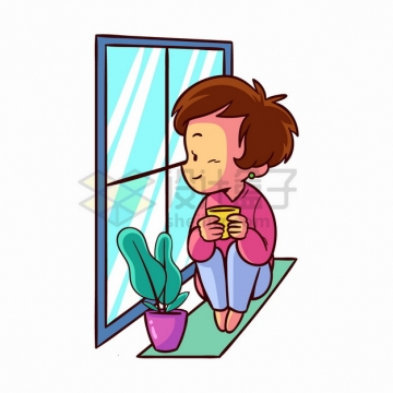 卡通男孩抱着咖啡杯坐在窗户前的窗台上看窗外的风景手绘插画png图片素材