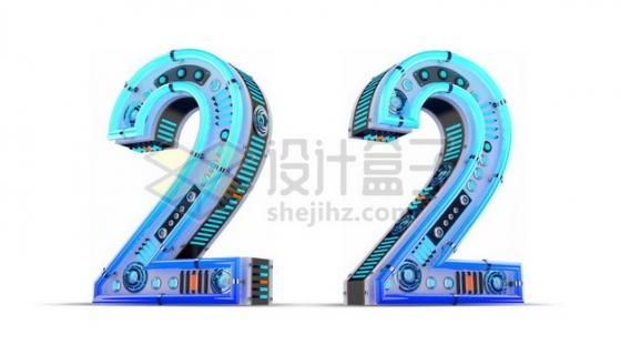 C4D风格蓝色机械3D立体数字二2艺术字体703091psd/png图片素材