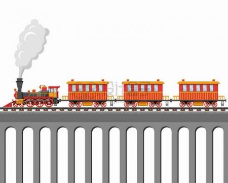 桥梁上的红色卡通蒸汽火车头拉着的小火车png图片素材