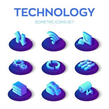 2.5D立体风格上传下载WiFi插座云计算监控摄像头等图标免抠矢量图素材