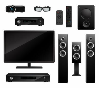 各种投影仪电视机和家庭影院音响等png图片免抠矢量素材