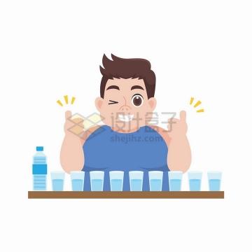一天要喝八杯水的小胖子减肥插画png图片免抠矢量素材