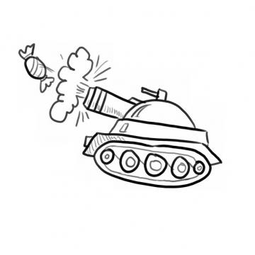 卡通坦克糖衣炮弹线条涂鸦插画136370png图片素材
