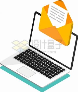 2.5D风格打开的白色笔记本电脑和信封象征了电子邮件png图片素材