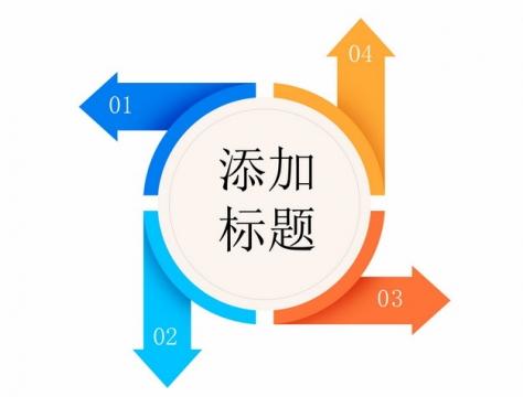 不同方向的四色箭头PPT元素771239png矢量图片素材