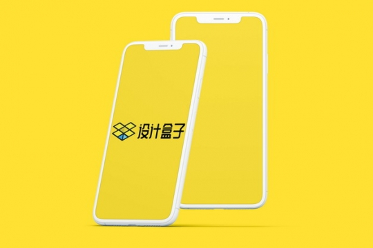 两款白色iPhone 12手机显示样机psd样机图片模板素材