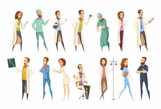 卡通漫画风格各种造型的医生医护人士png图片免抠矢量素材