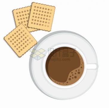 俯视视角的咖啡杯和饼干美味下午茶png图片免抠eps矢量素材