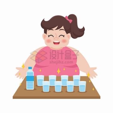一天要喝八杯水的胖女孩减肥插画png图片免抠矢量素材