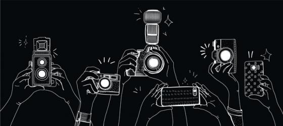 白色线条手绘风格拿着照相机手机拍照的手png图片免抠矢量素材