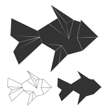 简洁黑白色折纸风格金鱼图片免抠素材