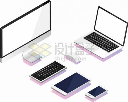 2.5D风格电脑显示器笔记本电脑键盘鼠标手机平板电脑等png图片素材511243