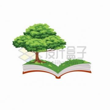 翻开的书本上长出一棵大树185587png矢量图片素材