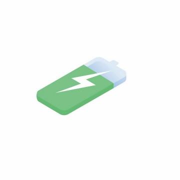 2.5D风格绿色电池充电图标图片免抠AI矢量素材