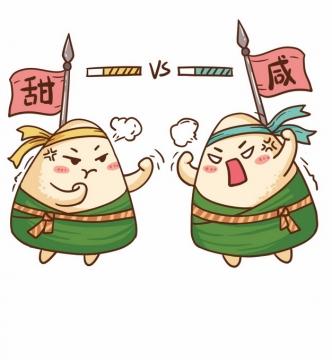 甜粽和咸粽端午节卡通粽子大战163012png图片素材