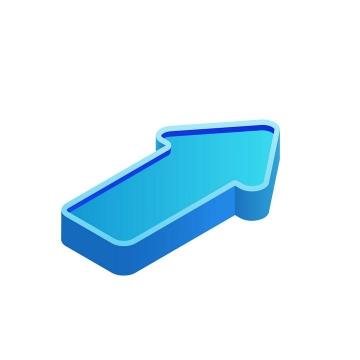 2.5D风格立体蓝色箭头图案图片免抠素材