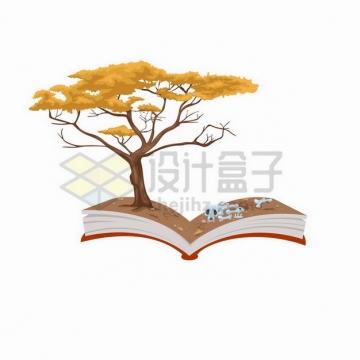 翻开的书本上长出一棵枯黄的大树842465png矢量图片素材