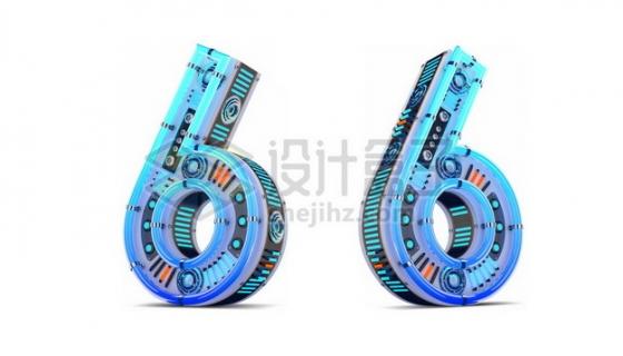 C4D风格蓝色机械3D立体数字六6艺术字体595509psd/png图片素材