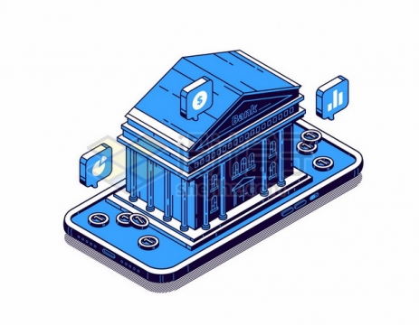 蓝色手机上的银行建筑象征了手机金融支付616066png矢量图片素材
