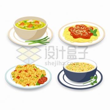 香菇面条拌面通心粉和鸡蛋汤等美味美食png图片素材