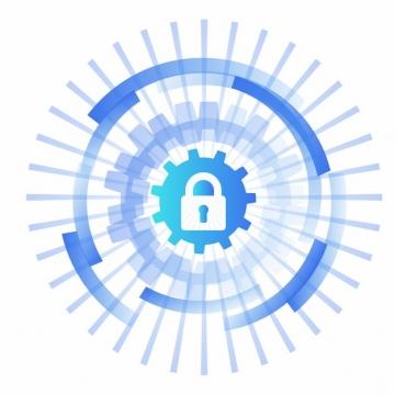 蓝色科技风格挂锁图案205668png矢量图片素材