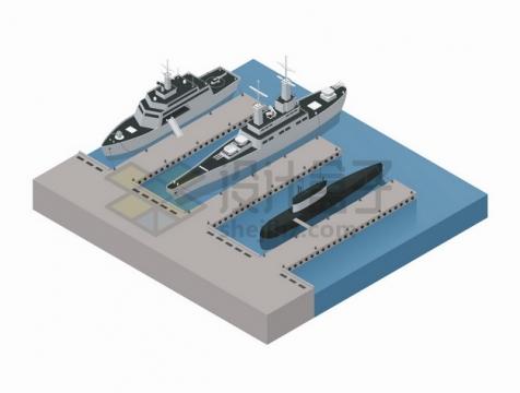 2.5D风格停靠在码头上军舰战列舰和潜水艇核潜艇png图片素材