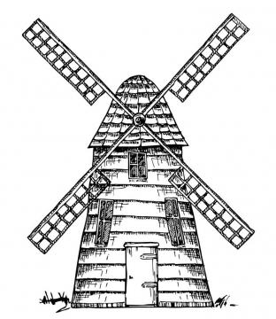 手绘素描插画风格荷兰大风车图片免抠矢量素材