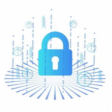 蓝色科技风格挂锁图案500909png矢量图片素材