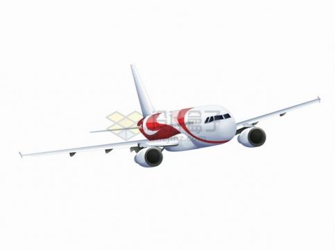 飞行中的红白涂装的大型客机飞机984504png图片素材
