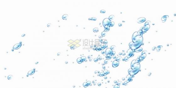 蓝色的水珠水里的气泡效果png图片免抠eps矢量素材