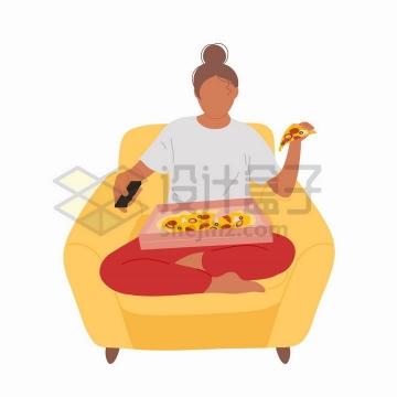 盘腿坐在沙发上吃披萨的单身女孩手绘扁平插画png图片免抠矢量素材