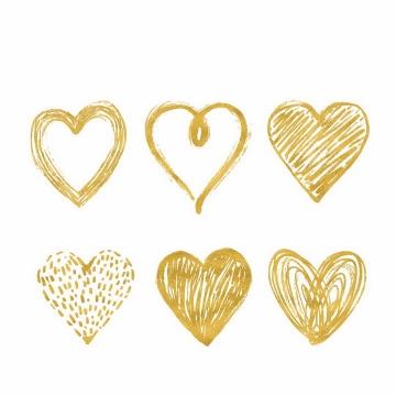 6款情人节手绘涂鸦风格心形符号素描图案png图片免抠eps矢量素材